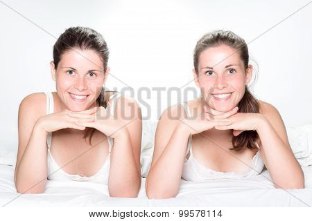 Smiling Twin Sisters