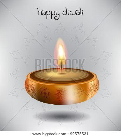 Lamp With Rangoli And Stylish Text For Diwali Celebration