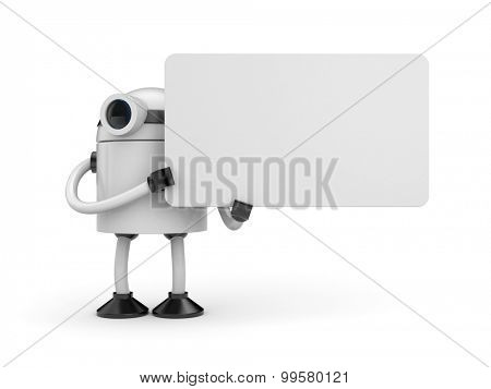 A robot holding a sign