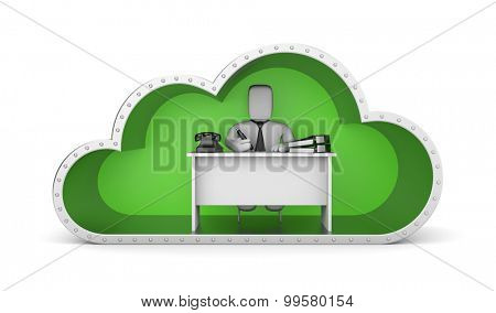 Businessman and green cloud