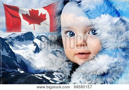 Double exposure of a Canadian baby girl, a Canadian flag and Canada's snow covered Rocky mountains.