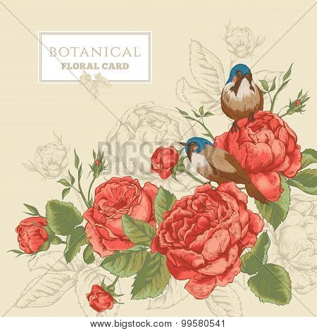 Botanical floral card with roses and birds