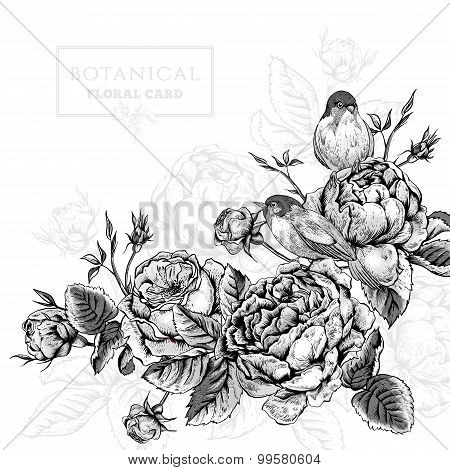 Floral card in vintage style with blooming english roses and birds