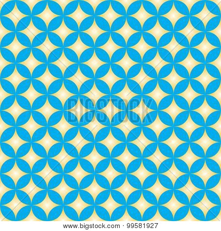 Blue & Yellow Diamond Star Circle Pattern