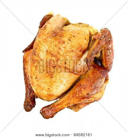 Grilled roast chicken over white