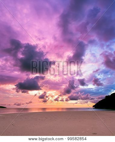Colorful majestic sunset at sand beach borneo