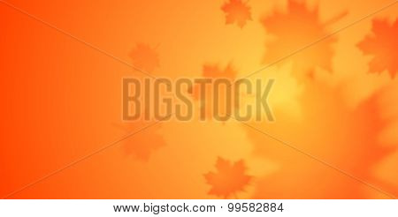 Autumn orange banner with blurred maple leaves. Vector background
