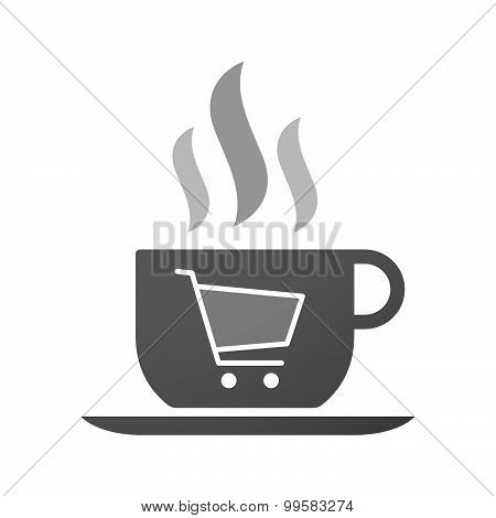 Cup Of Coffee Icon  With A Shopping Cart