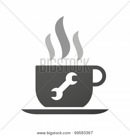 Cup Of Coffee Icon  With A Wrench