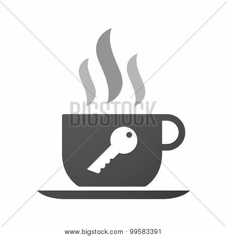 Cup Of Coffee Icon  With A Key