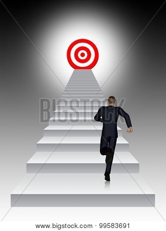 Concept conceptual 3D business man running, climbing stair on black background with a red target