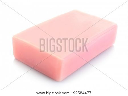 Bar of natural soap isolated on white