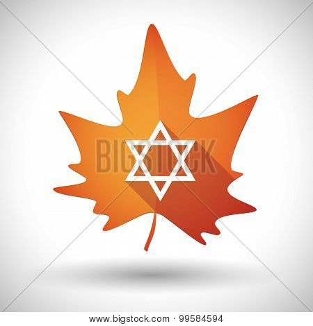 Autumn Leaf Icon With A David Star
