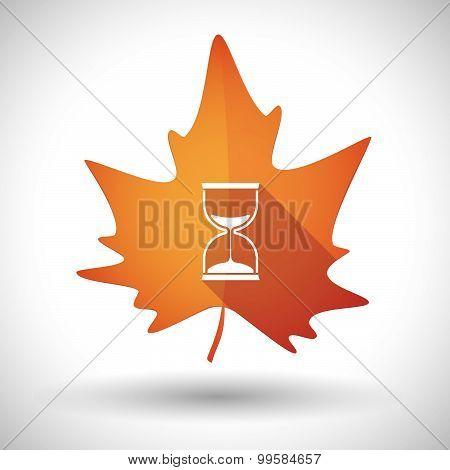 Autumn Leaf Icon With A Sand Clock