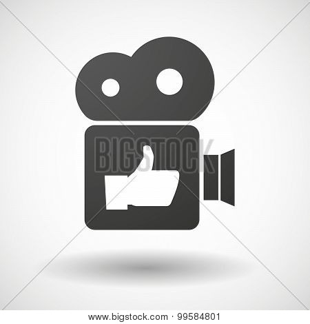 Cinema Camera Icon With A Thumb Up Hand