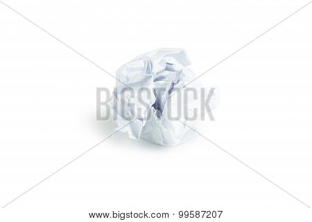 Crumpled paper ball isolated on white