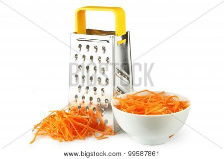 Metal Grater And Carrot Isolated On White