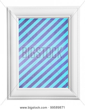 White frame with striped canvas isolated on white