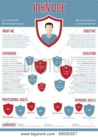 Modern Resume Cv Template With Shield Shaped Photo