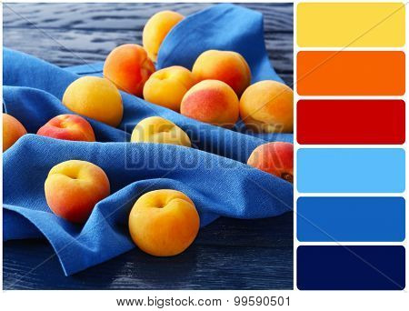 Ripe apricots on napkin and palette of colors