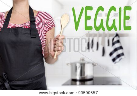 Veggie Chef Holding Wooden Spoon Background