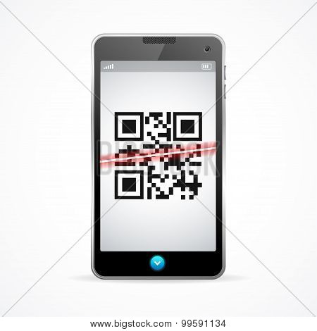 Barcode scanner phone. Vector