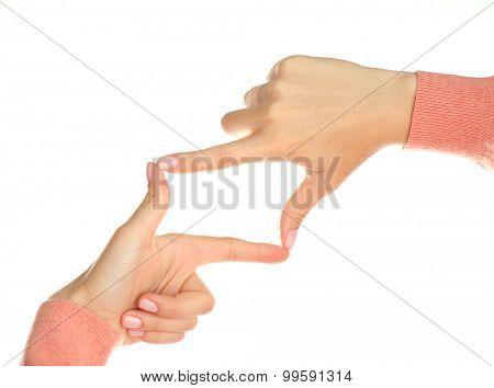 Finger frame isolated on white