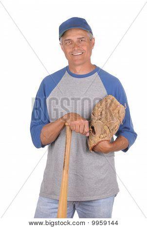 Hombre con el guante y el bate