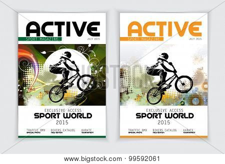 Cover sport active magazine, vector