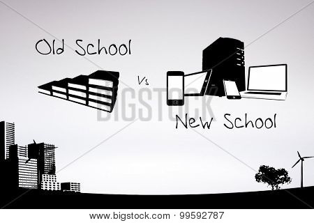 old school vs new school against grey background