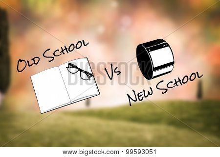 old school vs new school against glowing lights behind field