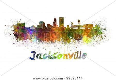 Jacksonville Skyline In Watercolor