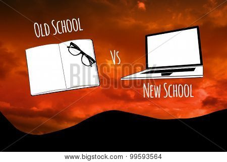 old school vs new school against sky and mountains