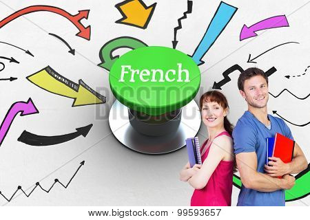 The word french and two students both with notepads against digitally generated green push button