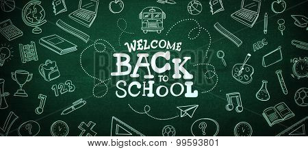 back to school against green