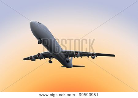 Graphic airplane against purple and orange sky