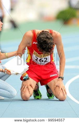 BARCELONA - JUNE, 13: Alvaro Martin of Spain when finished 10000 metres race walk event of of the 20th World Junior Athletics Championships at the Olympic Stadium on July 13, 2012 in Barcelona, Spain
