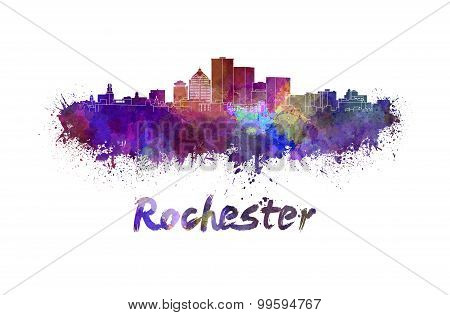 Rochester Skyline In Watercolor