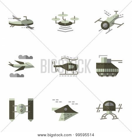 Military drones flat vector icons set