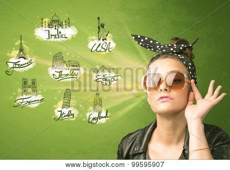 Happy young girl with sunglasses traveling to cities around the world concept
