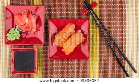 Portion Of Sushi With Soy Sauce, Ginger, Wasabi
