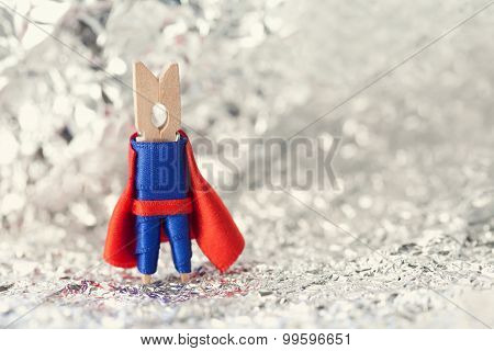 Superhero Abstract Concept. Clothespin Super Hero