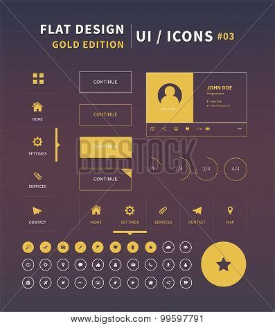 Clean Vector Flat Design Ui Kit For Webdesign