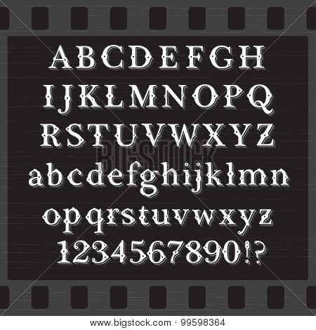 Retro Vintage Style White Font with Shadows on Black Background. Set of Both Case Letters and Digits