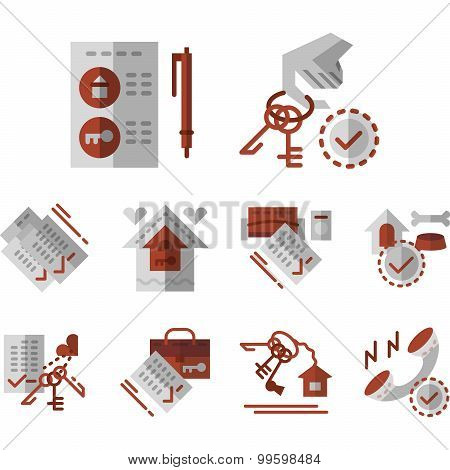Rent of house flat color vector icons