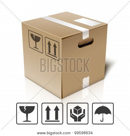 Cardboard Box Icon With Packaging Symbols, Vector