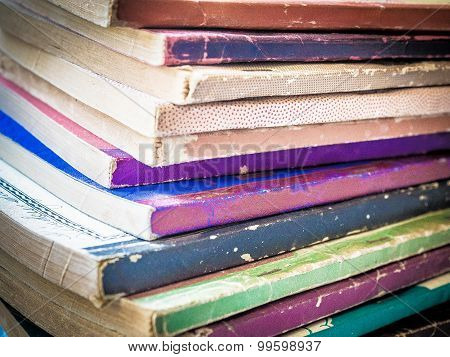 Stack of Old, Colorful Paperback Books