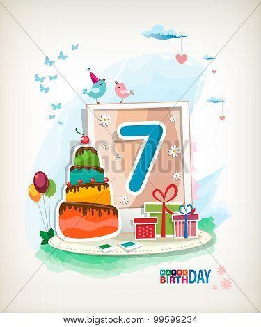 Seventh  Birthday Card. Birthday Cake And Photos
