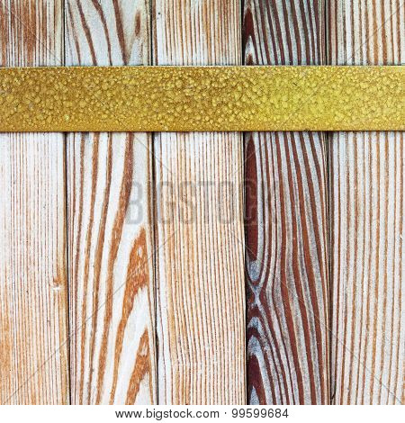 Vintage Yellow Metal Border. Wooden Tiles Pattern Background,