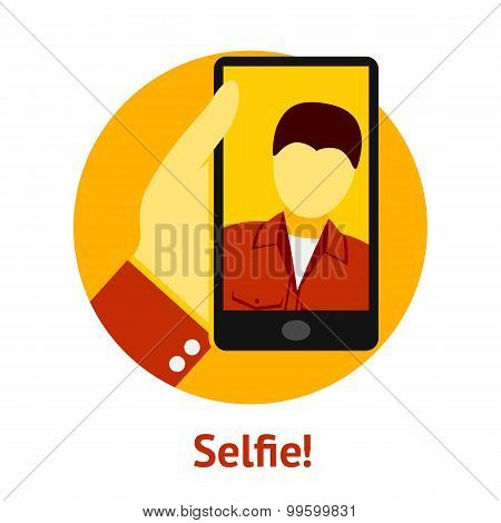 Hand with phone, making selfie. Vector